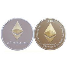 Gold Plated Ethereum Coin Collectible Art Collection Gift Physical Metal Antique Imitation Home Party Decoration