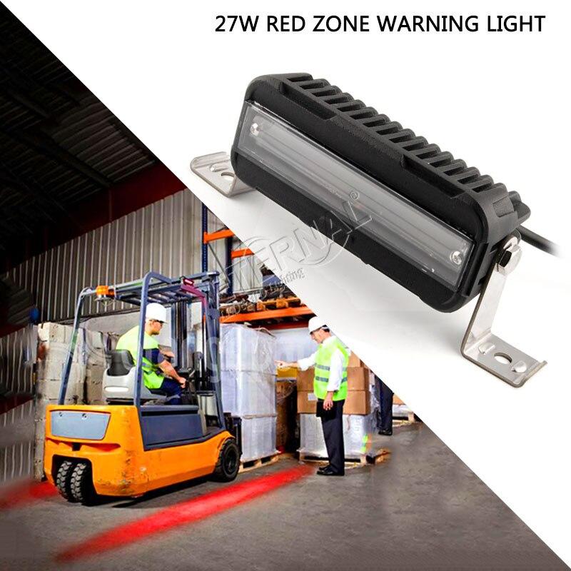 2шт 27w автопогрузчик предупреждающий красный свет опасности зоны для строительного оборудования со склада электрических машин светодиодный красный линия свет