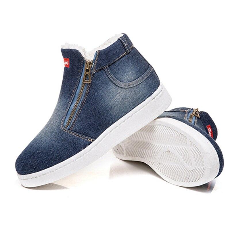 dc4a1d848 Flock Plush Invierno Zapatos 2018 Señoras De Nuevas lightblue Botines Planos  Nieve Cremallera Plataforma Mujeres Azul ...