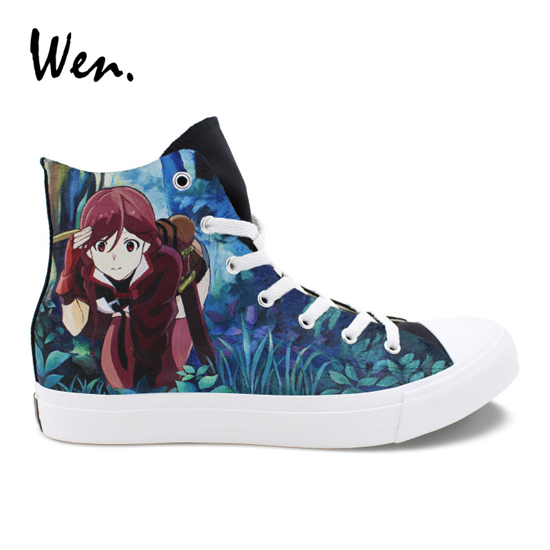 Wen Design Custom Hand Painted Anime Shoes Grimgar of Fantasy and Ash High Top Women Canvas Sneakers Men Athletic Skate Shoes