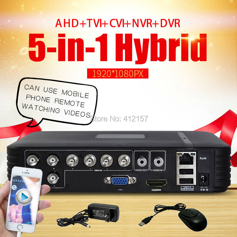 Cctv 8CH DVR AHD 720 P 1080N 1080 P 5-IN-1 Hybrid CVI TVI Analog HD Ip-kamera HVR NVR Video Recorder P2P Mobilen Ansicht HDMI