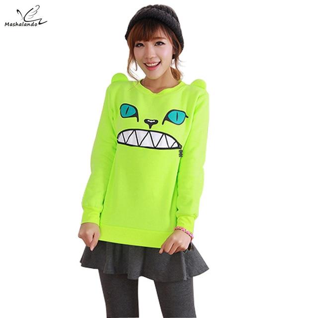 ecf5c6f95ce3 2016 New Women's Colored Zipper Smile Mouth Shoulder 3D Ear Cat Front  Jumper Sweats T-