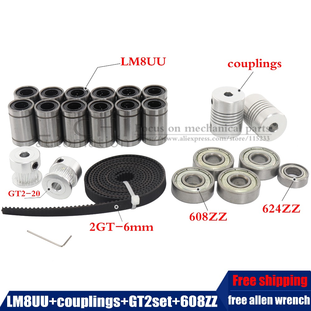 movement kit GT2 belt pulley 608zz bearing lm8uu 624zz bearing &5*5 or 5*8 coupler shaft 3d printer reprap i3 free shipping 3d printer reprap prusa i3 movement kit gt2 belt pulley 608zz bearing lm8uu 624zz bearing