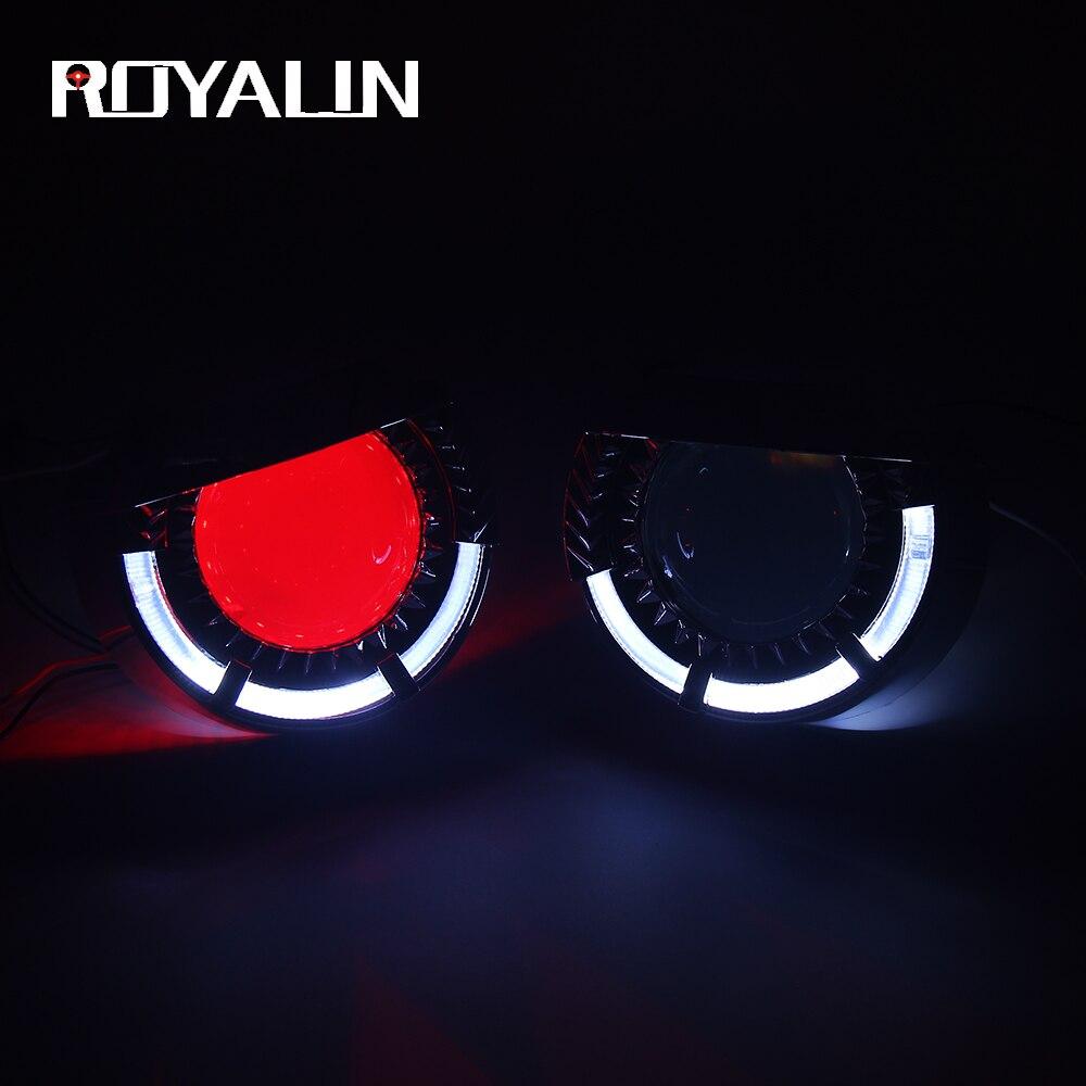 ROYALIN voiture 3.0 pouces LED H1 Bixenon Angel Eyes phares projecteur moto xénon lumières modification lentille universelle H4 H7 lampe