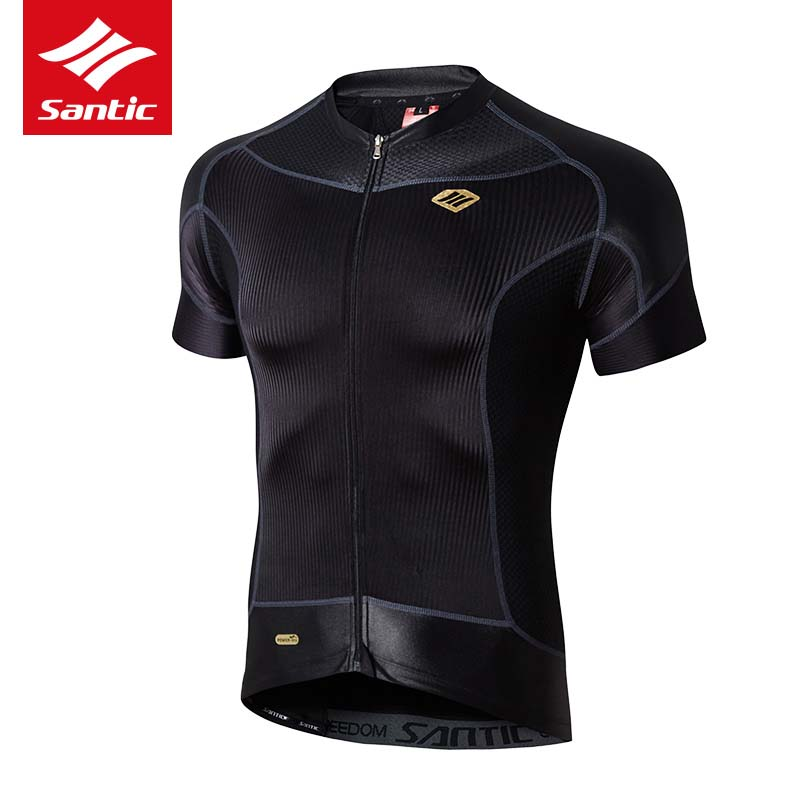 Santic Cycling Jersey Men Short Sleeve Compression UV Protective Quick Dry Black Road Bike Shirt Bicycle Clothing Ropa Ciclismo veobike men long sleeves hooded waterproof windbreak sunscreen outdoor sport raincoat bike jersey bicycle cycling jacket