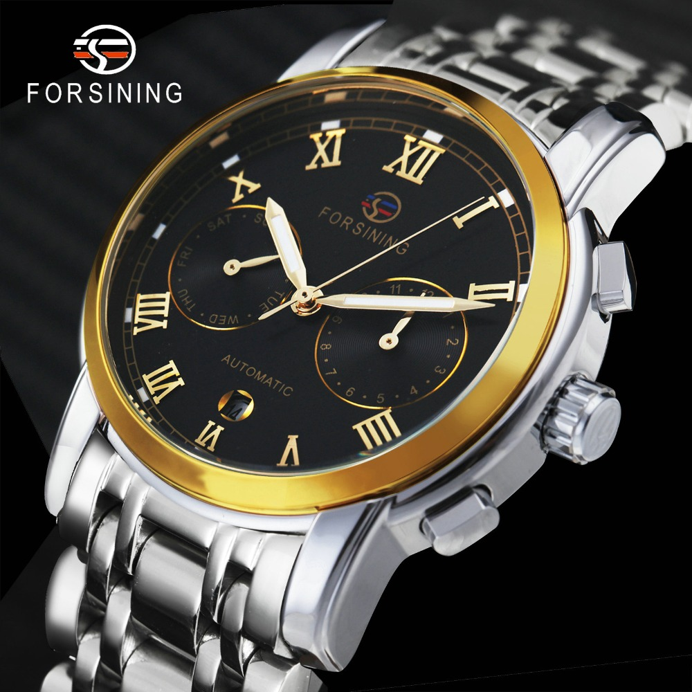 FORSINING Royal Business Mens Watches Top Brand Luxury Chronograph Auto Mechanical Full Steel Strap Watch Men Relogio MasculinoFORSINING Royal Business Mens Watches Top Brand Luxury Chronograph Auto Mechanical Full Steel Strap Watch Men Relogio Masculino