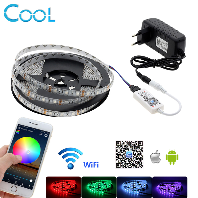 5050 RGB LED Strip 5M 300LEDs Home Decoration Lamp + WiFi RGB Controller + 12V 3A Power Adapter coversage rgb 5050 10m 600leds led strip ip65 waterproof light ceiling dc12v 6a with remote controller home decoration lamp