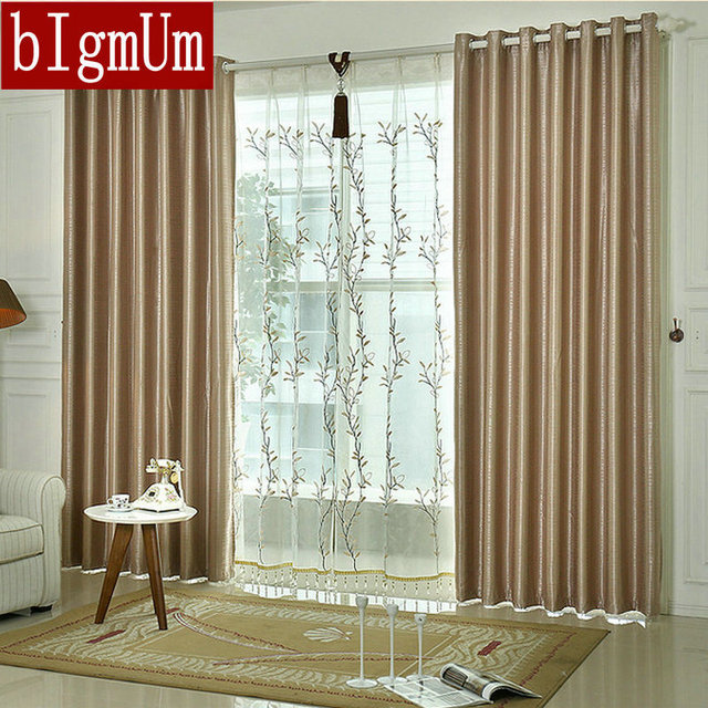 Double Sides Plaid Solid Brown Curtains Window Treatment For Bed