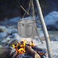 1100ml Titanium Pot Camping Titanium Tableware Ultralight Portable Pot with Lid Folding Handle Outdoor Camping Hiking Picnic
