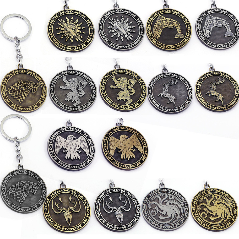 Film Série Game of Thrones Seize Type Métal Pendentif Chaveiro Llavero  Porte-clés Porte-clés Pour Enfants Cadeau Jouet Chiffres 59c5fb925d3d