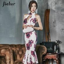 Jielur Print Trumpet Dress Womans Chinese Style Sexy Skinny Bodycon Dress Female Vintage Summer Casu