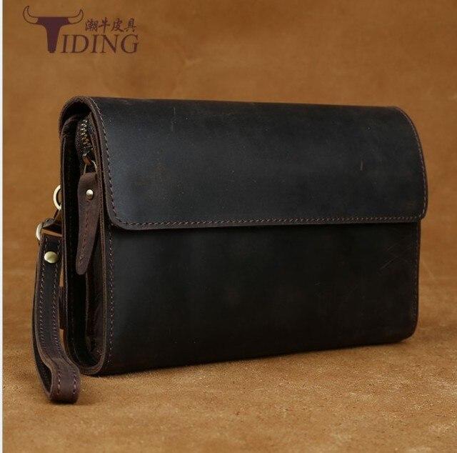 men Handbag vintage  Brand Genuine Leather Clutching Bag 2018 man Wallet Purse crazy horse leather  Natural Leather Day Clutches
