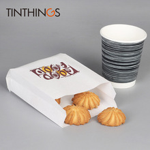 10 pcs white Kraft Oil proof Paper bag good food French Fries Fried chicken Bread Burrito Bags Takeout bags