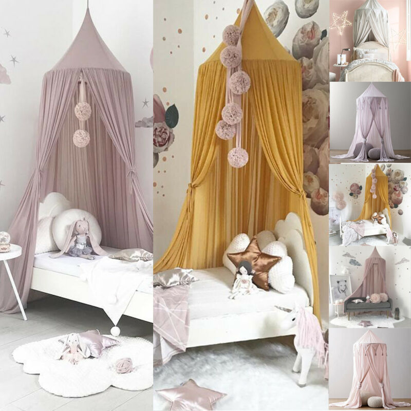 PUDCOCO Kids Baby Bed Canopy Bedcover Mosquito Netting Princess Curtain Bedding Dome Tent Double King Size Fly Insect Protection