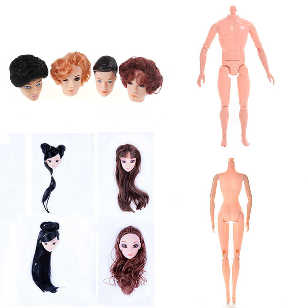 1PCS Doll Without Head Doll Male Female Naked Body Necessary For DIY All Joints Moveable Body Toy Doll Head With Hair For