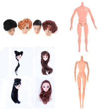 1PCS Doll Without Head Doll Male Female Naked Body Necessary For DIY All Joints Moveable Body Toy Doll Head With Hair For цена