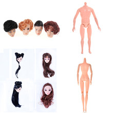 1PCS Doll Without Head Doll Male Female Naked Body Necessary For DIY All Joints Moveable Body Toy Doll Head With Hair For(China)