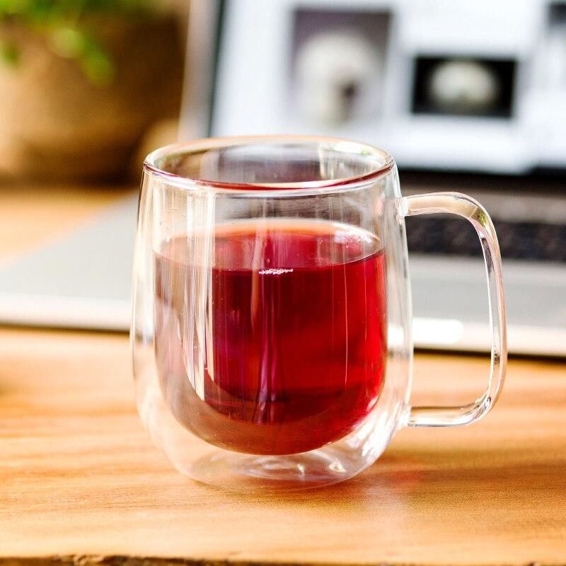 Двойные кофейные кружки с ручкой, чашки для напитков, изоляционные двойные стенки, стеклянная чашка для чая, креативный подарок, посуда для ...