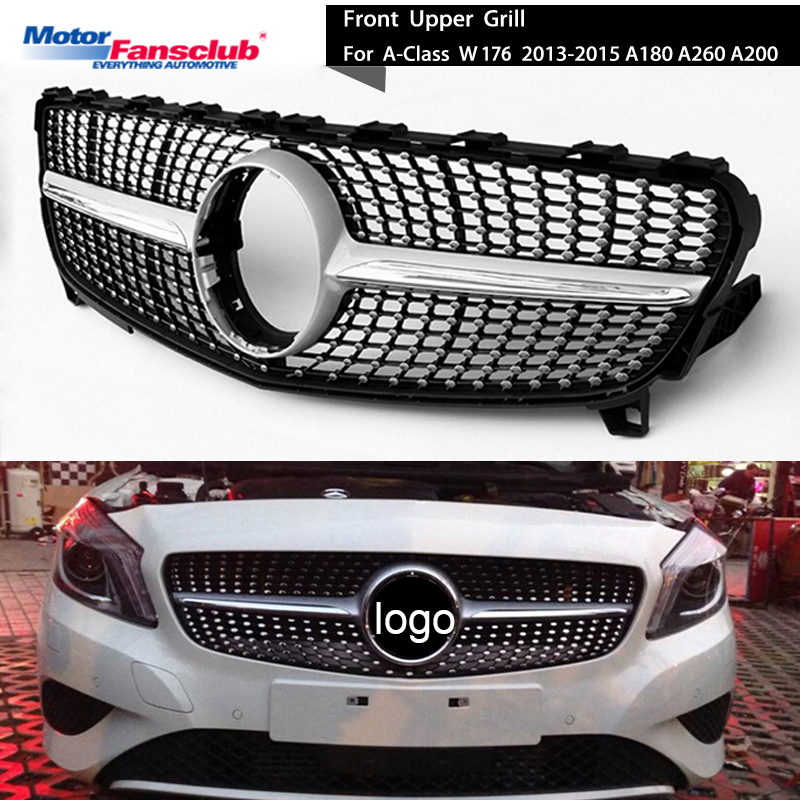 Car Racing Grille For Mercedes Benz W176 A180 A260 A200 A-Class 2013-2015 Grill Without Emblem Chrome Mesh Diamond Front Bumper