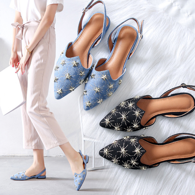 Boussac Luxury Star Rivets Flats Shoes for Women Pointed Toe Vintage  Slingbacks Buckle Strap Flats Mules Shoes SWA0098