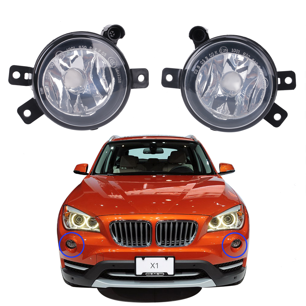 For BMW X1 E84 Sport Model 2010-2015 Left+Right Front Fog Lights Clear Lamps Foglamp Covers OEM 63172993525 63172993526 #W089