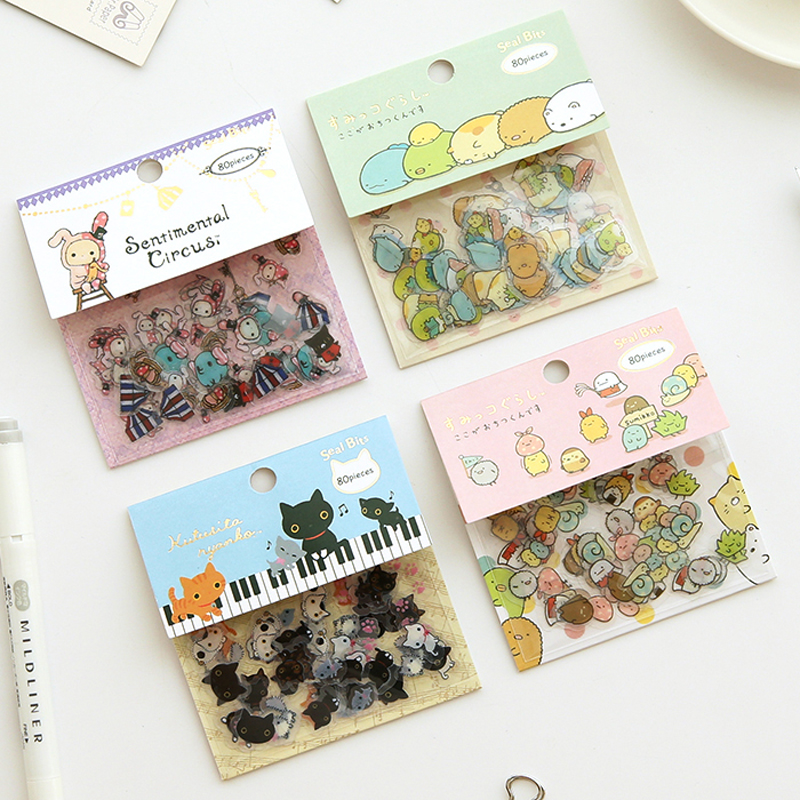 AE87 80pcs/Pack Kawaii Rabbit Black Cat Sumikko Gurashi PVC Decorative Sticker Dairy Album DIY Decor Craft Stick Label aomei 0168 bunny pattern pvc decor toilet sticker black large size