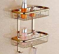 Modern Polished Titanium Gold / Rose Gold / Chrome Plated Refinded Brass Square Wall Mounted Basket Wall Rack Hardware Bathroom