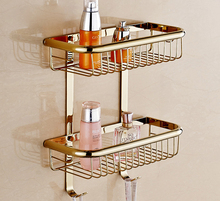 Modern Polished Titanium Gold / Rose Chrome Plated Refinded Brass Square Wall Mounted Basket Rack Hardware Bathroom