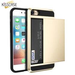 KISSCASE Armure étui pour iphone 7 6 6 s Plus 5 5 s SE Crédit porte-carte de Téléphone étuis pour iphone 7 6 6 s 5 5 s SE porte-carte Cas