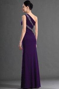 Image 2 - Roxo vestidos de noite sereia de um ombro chiffon frisado plus size longo vestido de noite vestidos de baile robe de soiree
