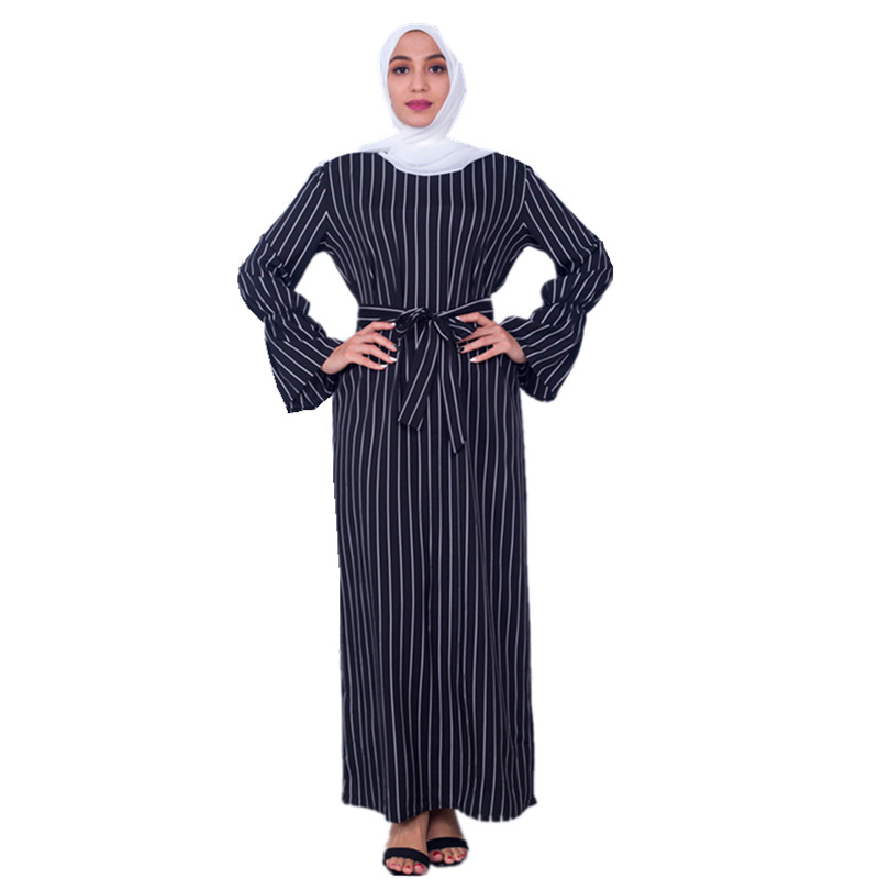 Women's Muslim Dubai Sashes Abayas Arab Women Fashion Stripe Dress Arabic Turkish Kaftan Female Clothing