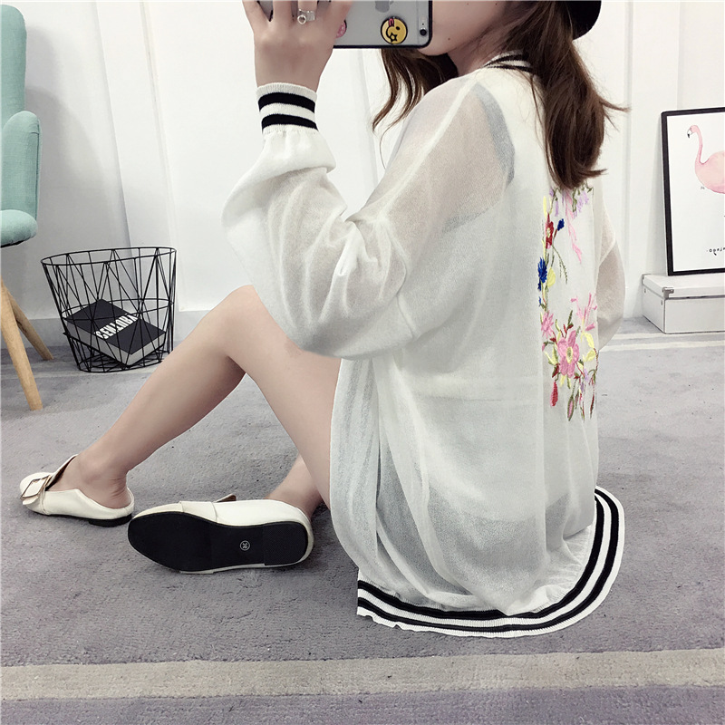 Embroidery Floral Cardigans for Women Thin Soft Poncho Cape unif Female Cardigan Summer plus size pull femme 2017 New KS1704