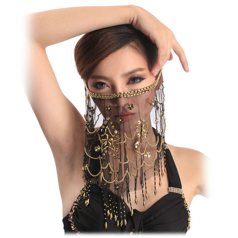 2019 High Quality Cheap Women Indian Belly Dance Face Veil Tribal Belly Dancing Veils For Sale 12 Colors Available