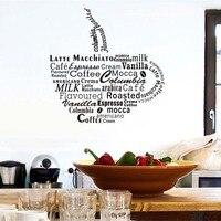 Moderno Em Forma de Copo de Café Citações Adesivo de Parede de Vinil Para Sala de estar sala de Arte Da Parede Da Cozinha Decoração Da Parede DIY Cartaz Decalque Casa decoração