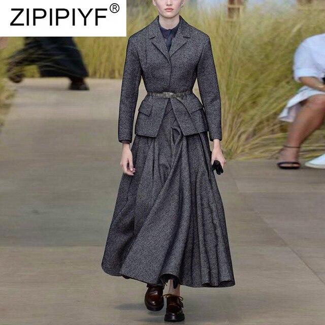 Winter Fashion Women Suits 2018 Streetwear Casual Turn down Collar Long Sleeve Blazer Outerwear+Long Skirt Set 2 Piece Set Q009