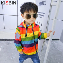 Boys Girl Jacket Rainbow Color Hooded Coat