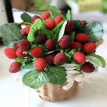 Paleta de Fruta artificial de flores para decoración de frutas, accesorios de foto de fresa, plantas artificiales, florero, canasto, 9 Uds., envío gratis