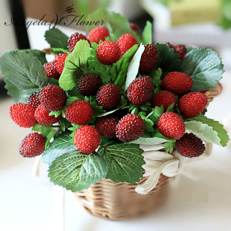 Us 1 9 21 Off Free Shipping 9 Fruit Decoration Flower Artificial Fruit Paddle Strawberry Photo Props Artificial Plant Decoration Basket Vase In