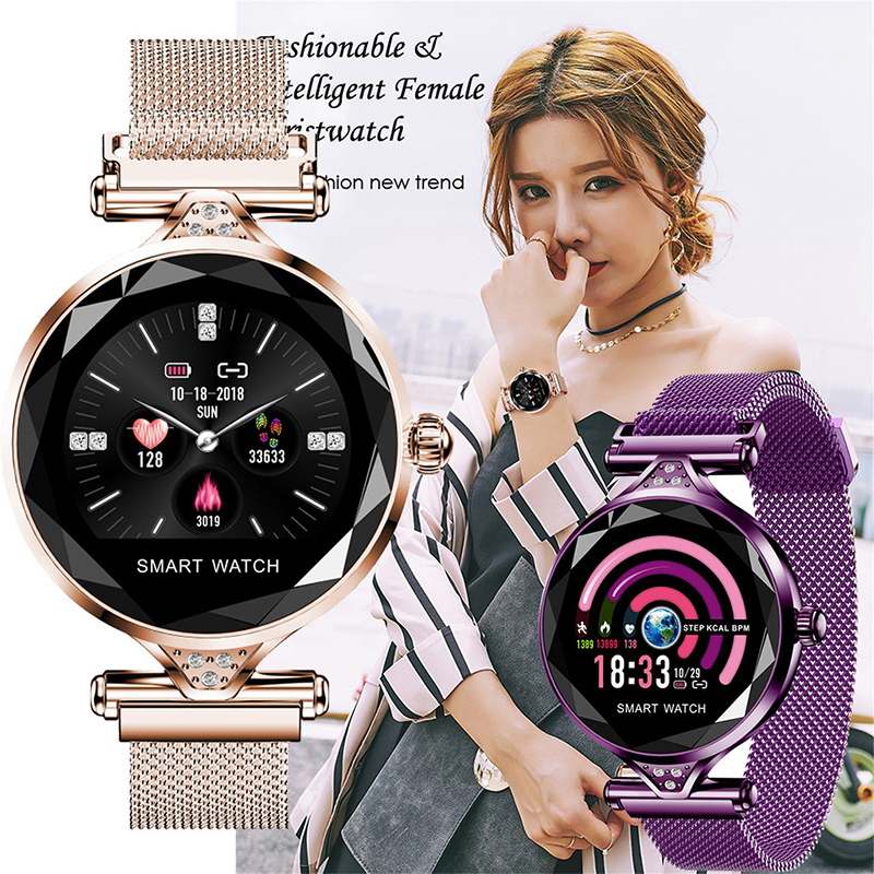 Women Fashion Luxury Smart Watch Gift For Women Bluetooth Pedometer Heart Rate Monitor SmartWatch For Android/IOS Smart Bracelet