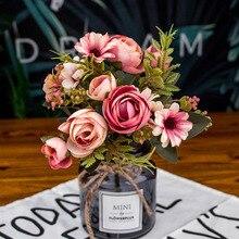 12 cabezas Flor de seda clásica europea 1 ramo de flores artificiales caída vívida peonía hoja falsa boda fiesta en casa Decoración