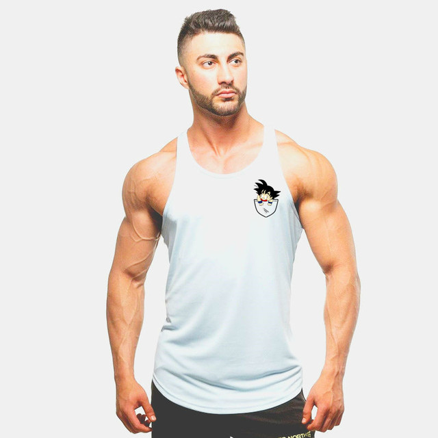 2018 fashion New Bodybuilding Dragon Ball Tank Tops Men Anime Tops Naruto vest Fitness Tops Tees saiyan singlets free delivery 4