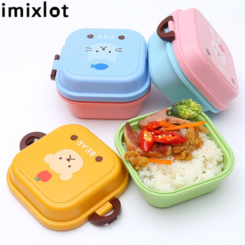 New Microwave Plastic Bento Double Layer Lunch Box For Kids Carton Character Food Container Cute Bento Boxes Lunch Pail