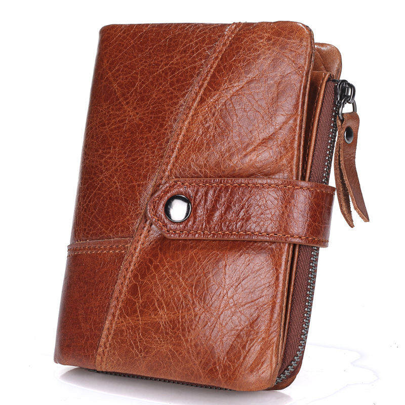 все цены на New Top Quality Genuine Leather men Wallet Brand zipper Men's Wallets Luxury Dollar Vintage cow leather Male Purse card Coin Bag онлайн