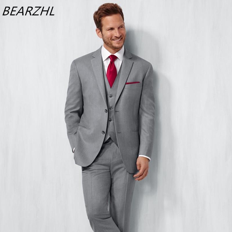 wedding italian suits for men tuxedo 3 piece suit gray mens performance jackets high quality prom wear