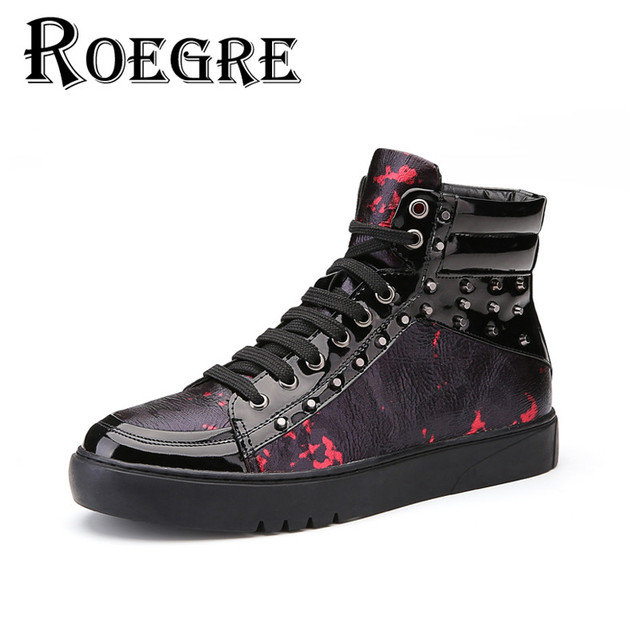 ROEGRE Handmade Men's Shoes Casual Man Lace Up High Top Flats with Rivet Print Leather Ankle Boots for Men Black Red