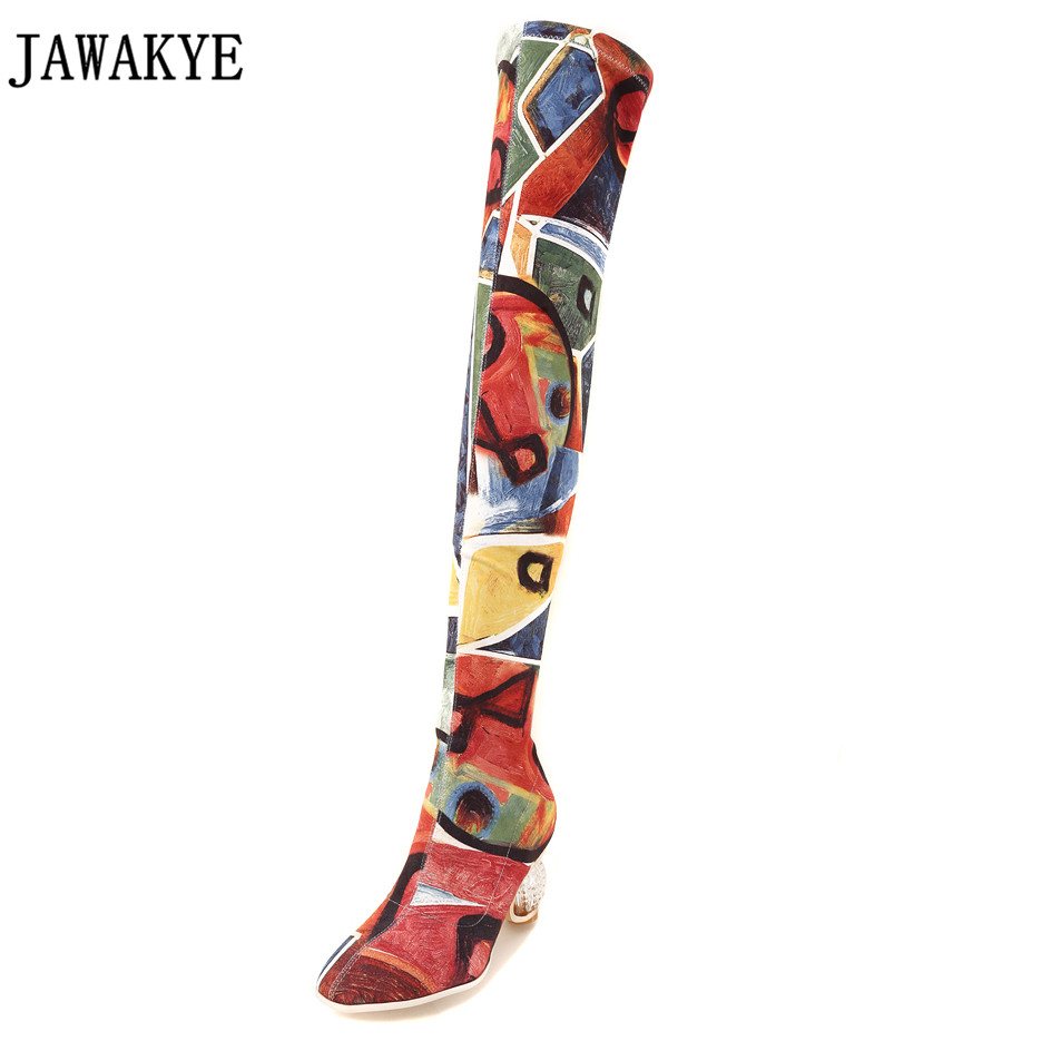 Spring Autumn Coloured drawing Over the Knee Boots Women clear transparent heel ankle boots for women 2018 Elastic Shoes female