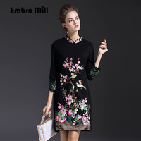 2017 Autumn Casual Dress Chinese Style Vintage Embroidery Plus Size Slim Black Red High Quality Lady