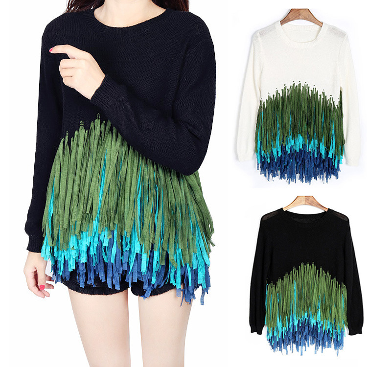 Women Colorful Tassel Knit Sweater Pullovers 2016 Beauty Palette Casual New Fashion Fringe Pullover Tops Drop