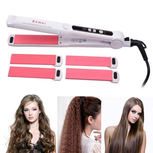 Multifunctional Hair Straightener Professional Flat Iron Curling Corn Styling Tool 3 in 1 Straightening Iron Hair Curler 0 1