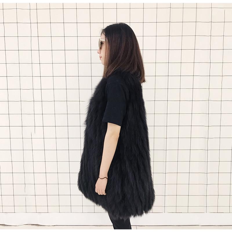 Mode dark De Mince Naturel Green Black Gilet Fourrure Pour Femmes Les Renard Réel Rf0055 zq7S86f